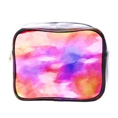 Colorful Abstract Pink And Purple Pattern Mini Toiletries Bags by paulaoliveiradesign