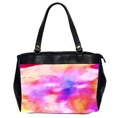 Colorful Abstract Pink And Purple Pattern Office Handbags (2 Sides)  by paulaoliveiradesign