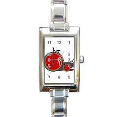 Watermelon Bicycle  Rectangle Italian Charm Watch by Valentinaart