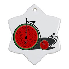Watermelon Bicycle  Ornament (snowflake) by Valentinaart