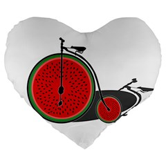 Watermelon Bicycle  Large 19  Premium Heart Shape Cushions by Valentinaart