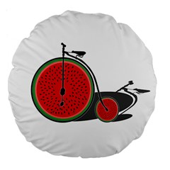 Watermelon Bicycle  Large 18  Premium Flano Round Cushions by Valentinaart