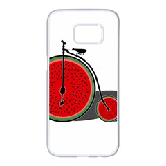 Watermelon Bicycle  Samsung Galaxy S7 Edge White Seamless Case