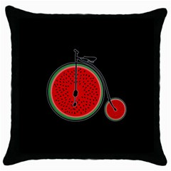 Watermelon Bicycle  Throw Pillow Case (black) by Valentinaart