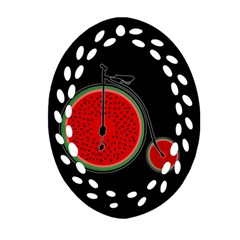Watermelon Bicycle  Oval Filigree Ornament (two Sides) by Valentinaart