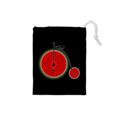 Watermelon Bicycle  Drawstring Pouches (small)