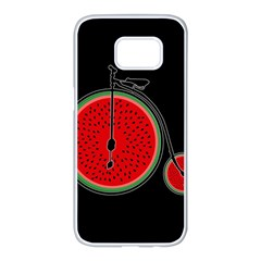 Watermelon Bicycle  Samsung Galaxy S7 Edge White Seamless Case by Valentinaart