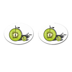 Kiwi Bicycle  Cufflinks (oval) by Valentinaart