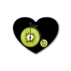Kiwi Bicycle  Rubber Coaster (heart)  by Valentinaart