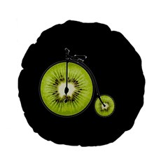 Kiwi Bicycle  Standard 15  Premium Flano Round Cushions by Valentinaart