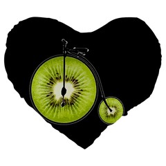 Kiwi Bicycle  Large 19  Premium Flano Heart Shape Cushions by Valentinaart