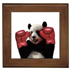 Boxing Panda  Framed Tiles by Valentinaart