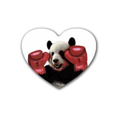 Boxing Panda  Rubber Coaster (heart)  by Valentinaart