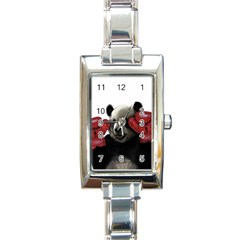 Boxing Panda  Rectangle Italian Charm Watch by Valentinaart