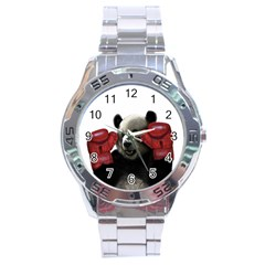 Boxing Panda  Stainless Steel Analogue Watch by Valentinaart
