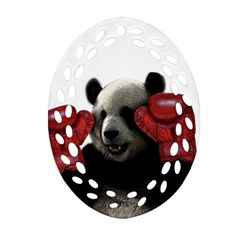 Boxing Panda  Ornament (oval Filigree) by Valentinaart