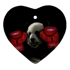 Boxing Panda  Ornament (heart) by Valentinaart