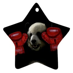 Boxing Panda  Ornament (star) by Valentinaart