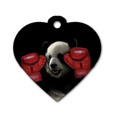 Boxing Panda  Dog Tag Heart (two Sides) by Valentinaart