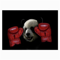 Boxing Panda  Large Glasses Cloth (2 Side) by Valentinaart
