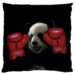 Boxing Panda  Large Cushion Case (two Sides) by Valentinaart