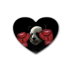 Boxing Panda  Rubber Coaster (heart)
