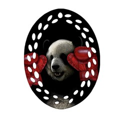 Boxing Panda  Ornament (oval Filigree)