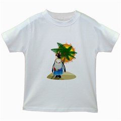 Tropical Penguin Kids White T Shirts by Valentinaart