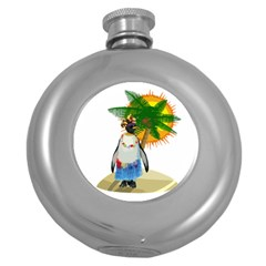 Tropical Penguin Round Hip Flask (5 Oz)