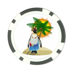 Tropical Penguin Poker Chip Card Guard