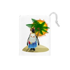 Tropical Penguin Drawstring Pouches (small)