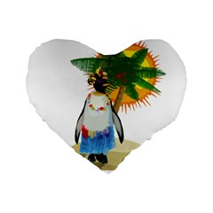 Tropical Penguin Standard 16  Premium Flano Heart Shape Cushions by Valentinaart