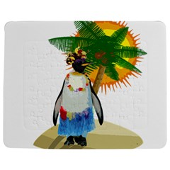 Tropical Penguin Jigsaw Puzzle Photo Stand (rectangular) by Valentinaart