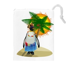 Tropical Penguin Drawstring Pouches (extra Large) by Valentinaart