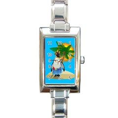 Tropical Penguin Rectangle Italian Charm Watch by Valentinaart