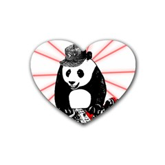 Deejay Panda Heart Coaster (4 Pack)  by Valentinaart