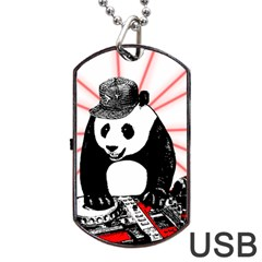 Deejay Panda Dog Tag Usb Flash (one Side) by Valentinaart