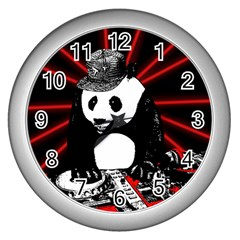 Deejay Panda Wall Clocks (silver)  by Valentinaart