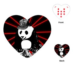 Deejay Panda Playing Cards (heart)  by Valentinaart