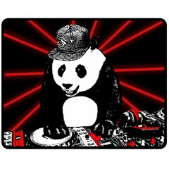 Deejay Panda Fleece Blanket (medium)  by Valentinaart