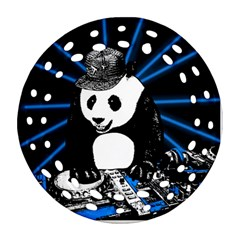 Deejay Panda Ornament (round Filigree) by Valentinaart