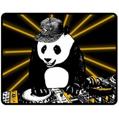 Deejay Panda Double Sided Fleece Blanket (medium)  by Valentinaart