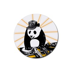 Deejay Panda Rubber Round Coaster (4 Pack)  by Valentinaart