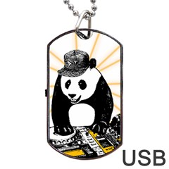 Deejay Panda Dog Tag Usb Flash (two Sides) by Valentinaart