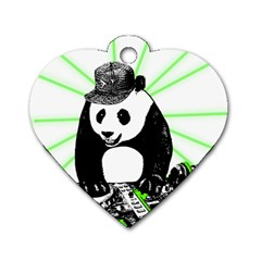 Deejay Panda Dog Tag Heart (one Side)