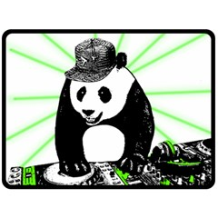 Deejay Panda Double Sided Fleece Blanket (large)  by Valentinaart