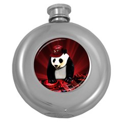 Deejay Panda Round Hip Flask (5 Oz) by Valentinaart