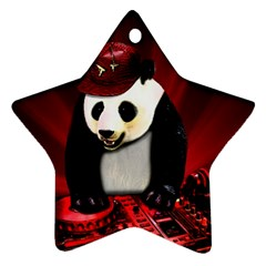 Deejay Panda Star Ornament (two Sides) by Valentinaart