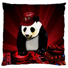 Deejay Panda Large Flano Cushion Case (one Side) by Valentinaart
