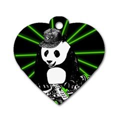 Deejay Panda Dog Tag Heart (two Sides) by Valentinaart